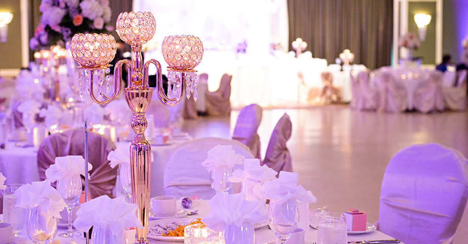 Chandelier Table Centerpiece In Large Ballroom